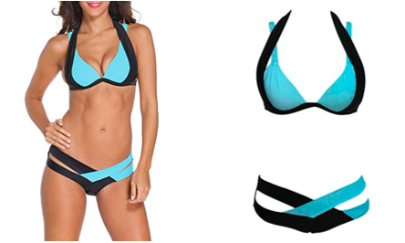 Cross Double Colored Padded Push Up Halter Bikini  available at Swimsuits.com.