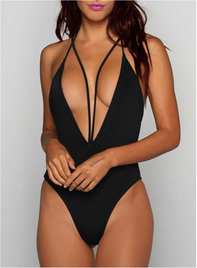 DDSOL Women One Pieces Swimsuits Deep V Backless String Monokini Bathing Suit available at Swimsuits.com.