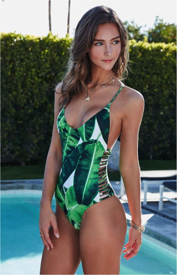 Women Bodysuit Bathing Suit Vintage Beach Wear Print Bandage Monokini available at Swimsuits.com.