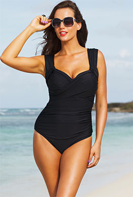 Shore Club Black Plus Size Crossover Swimsuit