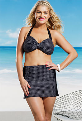 Marilyn Monroe Plus Size Polka Dot Halter High Waisted Swim Skirtini